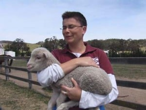 Student with Sarah the lamb